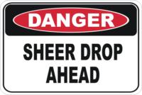 sheer drop sign