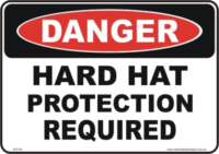 Hard hat danger sign