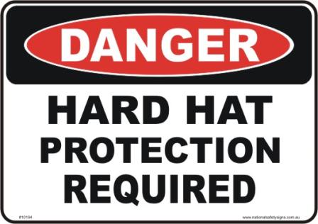 Hard hat danger sign