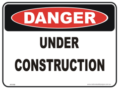 Under construction danger sign