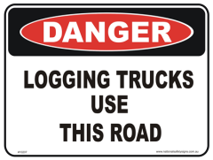 Logging trucks danger sign