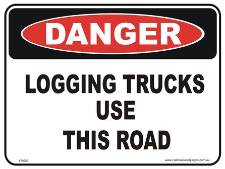 Logging trucks danger sign
