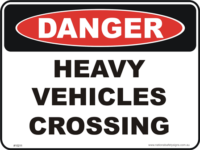 Heavy vehicles crossing danger sign
