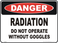 radiation, wear goggless danger sign
