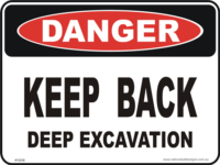 Deep excavation danger sign