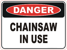 chainsaw danger sign