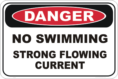 No swimming strong current danger sign