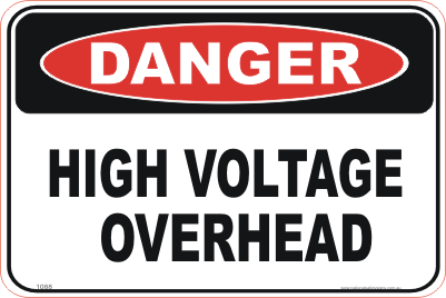 high voltage sign, high voltage overhead sign