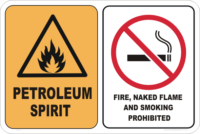 no naked flame sign, petroleum spirit sign