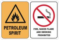 no naked flame sign, petroleum spirit sign