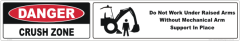 Backhoe Crush Zone danger sign