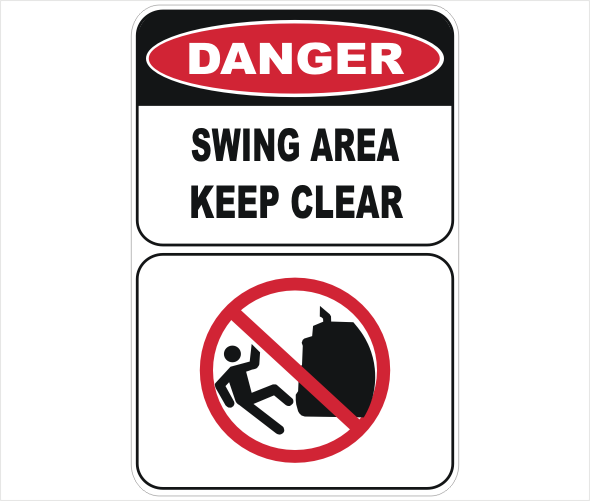 swing area, keep clear