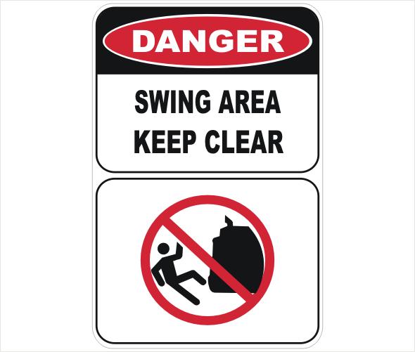 swing area, keep clear