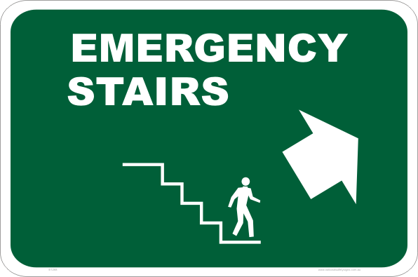 emergency stairs up sign e1268 national safety signs