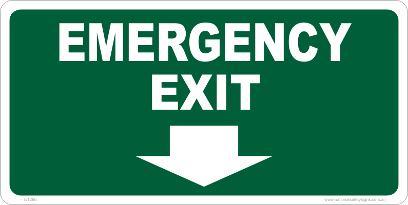 emergency exit signs exit arrows national safety signs. Black Bedroom Furniture Sets. Home Design Ideas