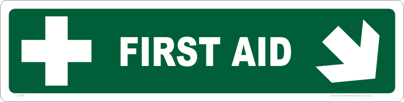 first aid arrow right, down