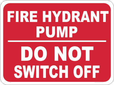 fire hydrant pump safety sign