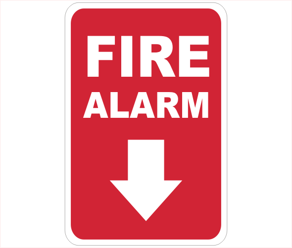 fire alarm arrow down sign