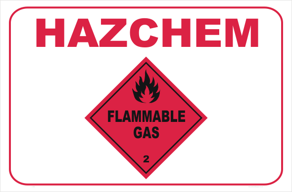 HazChem Flammable Gas sign 2