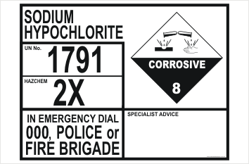 Sodium Hypochlorite Hazchem 1791 Sign