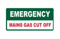 Main Gas Cut Off sign