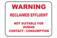 warning reclaimed effluent