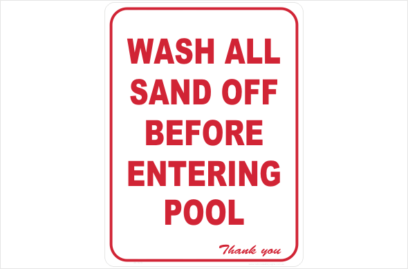 wash sand off before entering pool