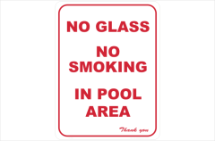 no glass no smoking in pool area
