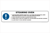Steaming Oven Use. Steaming Oven warning sign