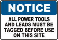 Power tool and lead tag Warning sign