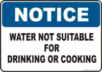 Water Not for Drinking Notice sign