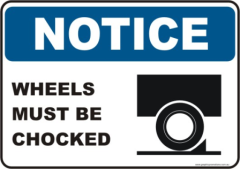Wheels must be Chocked Notice sign