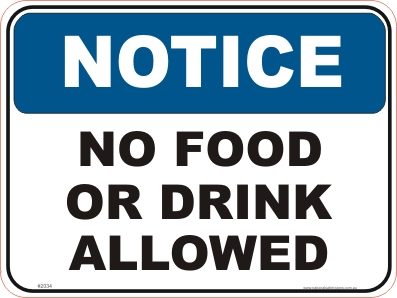 picture relating to Free Printable Food Safety Signs titled No Food stuff or Consume permitted Indicator N2034