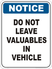Vehicle contents stealing sign