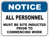 Personnel Induction sign