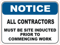 Contractor Induction sign