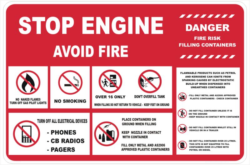 Stop Engine petrol pump sign