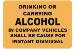 no alcohol in vehicles