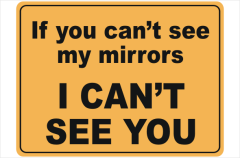 if you can't see my mirrors I can't see you
