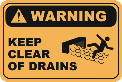 Keep clear of Drains warning sign