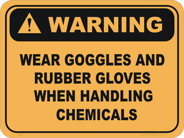 wear goggles and gloves, goggles, gloves