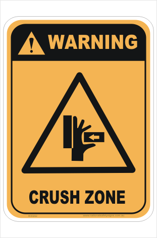 Crush zone sign