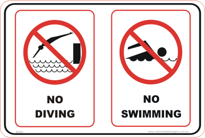 No Diving Swimming Combination sign