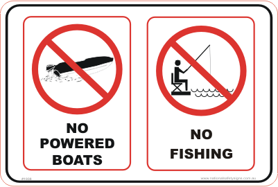 No Boats No fishing Combination sign