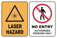 LASER HAZARD - NO ENTRY