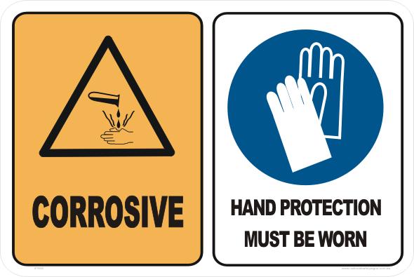 corrosive hand protection worn