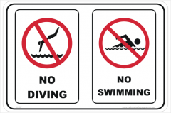No Diving Swimming sign