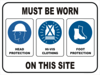 PPE HEAD, HI-VIS, FOOT PROTECTION ON SITE