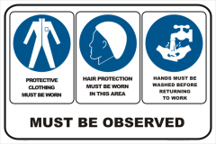 CLOTHING, HAIR,WASH HANDS MUST BE OBSERVED