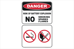 battery explostion no smoking no flames